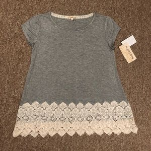 NWT Grey Top with lace bottom